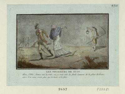 Les  Voyageurs de nuit allons, l'abbé, donnes-moi la main, car je crois voir la fatale lanterne de la place de Greve : ainsi il ne vous reste plus que la honte et la fuite : [estampe]