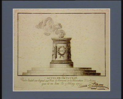 Autel de la patrie vue de l'autel sur lequel s'est fait le serment de la fédération d'Orléans, qui a eu lieu le 9 may 1790 : [estampe]