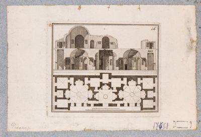 Palatino, pianta e sezione della Domus Augusti nei pressi della Villa Mills