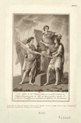 Le  Génie de la nation françoise reçoit le sermens du citoyen couronné par la loy, et dépose en ses mains le pouvoir exécutif, pour maintenir et défendre la Constitution [estampe]