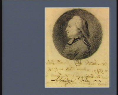 Jos. Lancelot né à Marcillé-Rober en 1749, ordonné prêtre en 1774 curé de Retiers en 1776, député du diocèse de Rennes aux Etats généraux [<em>e</em>]n 1789, elu secret.re de l'Assemblée n.ale au mois de decemb. 1790 : [dessin]