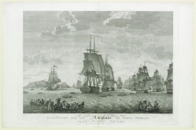 Evacüation par les Anglais de Porto Ferraio le 16 avril 1797 [estampe]