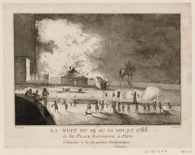 La  Nuit du 29 au 30 aoust 1788 à la place Dauphine, à Paris l'injustice à la fin produit l'indépendance. Voltaire : [estampe]