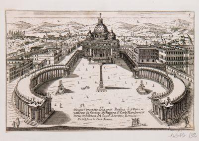 Disegno e prospetto della Gran Basilica di S. Pietro in Vaticano