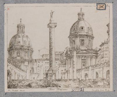 Foro Traiano, veduta dello scavo francese con la Colonna e le chiese nello sfondo