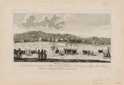 Abbildung des Lagers welches die Franzosen d. 14 Aug. 1796 bei Altdorf vom Spital nach Weinhof zu mit Baraquar, von Hopfen u. Bohnen Stangen unterstüzt, in grosster Geschwindigkeit geschlagen haben : [estampe]