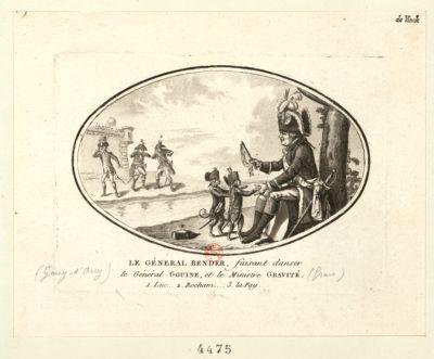 Le  Général Bender faisant danser le général Gouine, et le ministre Gravité 1. Luc.. 2. Rocham.... 3. La Fay. : [estampe]