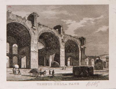 Basilica di Costantino, veduta generale con sfondo del Colosseo