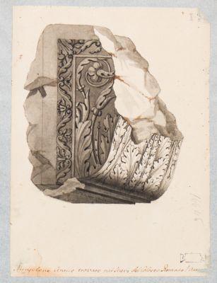 Colosseo. Mensolone antico trovato nei scavi del Coloseo Romano