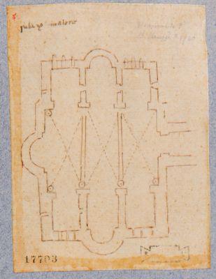 Palatino, pianta di costruzione schizzata da B. Peruzzi