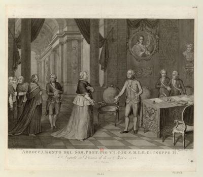 Abboccamento del som.Pont.Pio VI con S.M.I & <em>R</em>. Giuseppe II seguito in Vienna il di 24 marzo 1782 : [estampe]