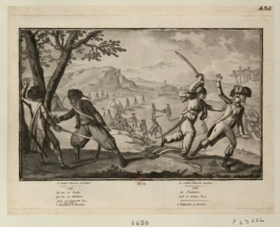 Echantillon de l'affaire de Mons duo, le soldat patriote jacobin..., le soldat patriote feuillant... : [estampe]