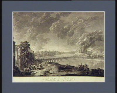 Bataille de Lodi le 21 floreal an 4.me rép.ain l'armée française commandée par le g.al Bonaparte passe l'Adda à Lodi l'avant garde s'élance sur le pont, renverse l'armée autrichienne retranchée de l'autre côte et s'empare de son artillerie : [estampe]