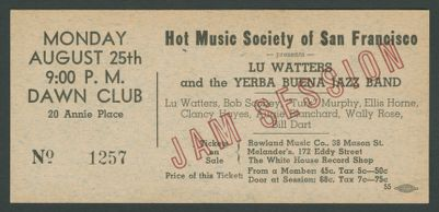Hot Music Society of San Francisco, Calif. presents Lu Watters and the Yerba Buena Jazz Band, August 25, 1941