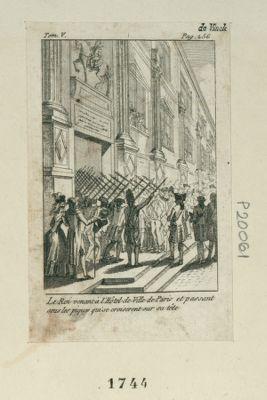 Le  Roi venant à l'Hôtel de Ville de Paris et passant sous les piques qui se croisèrent sur sa tête [estampe]
