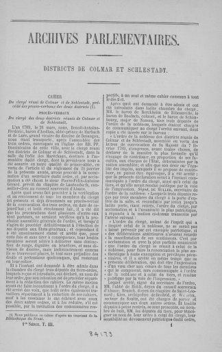 Tome 3 : 1789 – États généraux. Cahiers des sénéchaussées et baillages [Colmar et Schelestadt - Metz] - page 1