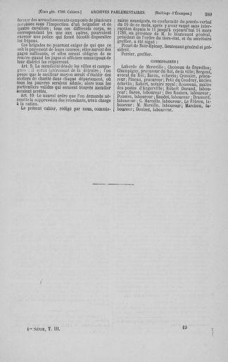 Tome 3 : 1789 – États généraux. Cahiers des sénéchaussées et baillages [Colmar et Schelestadt - Metz] - page 289