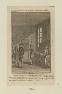 Interrogatoire de MM. Merlin, Bazire et Chabot samedi 19 mai 1792, le juge de paix Etienne Larivière ayant décerné un mandat d'amener MM. Merlin, Bazire et Chabot, députés à l'Assemblée nationale... : [estampe]