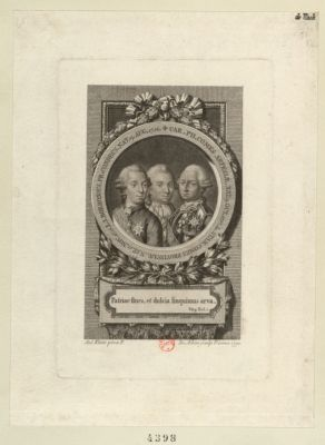 L.L. Bourbonius pr. Condeus nat. 9 aug. 1736 Car. Phi.comes Artesiae nat. 9 oct. 1757 ; <em>L</em>. Stan. comes provinciae nat. 17 nov. 1755. .. : [estampe]