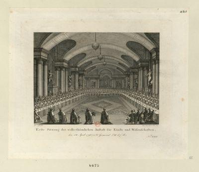 Erste Sitzung der volksthümlichen Anstalt für Künste und Wissenschaften den 4ten April 1796... : [estampe]