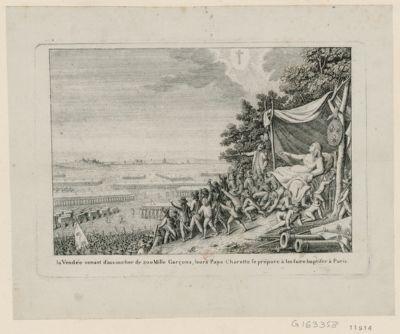 La  <em>Vendée</em> venant d'accoucher de 200 mille garçons, leur papa Charette se prépare à les faire baptiser à Paris [estampe]