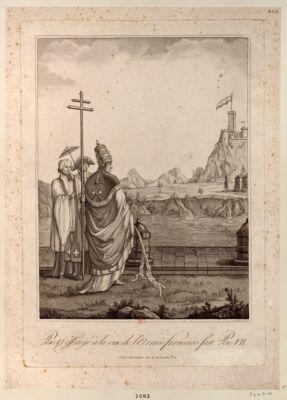 Pie VI éffrayé à la vue de l'Armée française fait Pie VII [estampe]