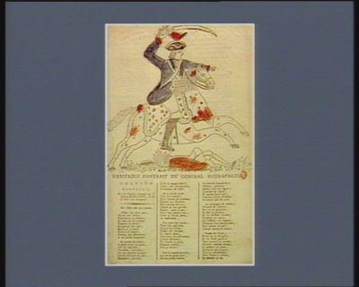 Veritable portrait du génèral Buonaparte chansons nouvelles sur les victoires remportées par le general Buonaparte & sur la paix avec l'Empereur... : [estampe]