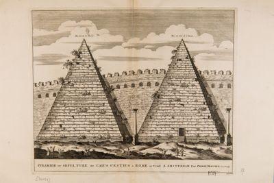 Piramide di Caio Cestio, prospetto verso levante e verso ponente