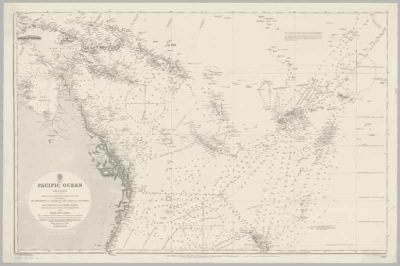 Pacific Ocean in four sheets : comprised between the parallels of 37 degrees North and 37 degrees South and extending from the Philippine and Celebes Is., New Guinea and Australia, to San Francisco and Easter Island