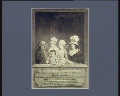Premier hommage des habitans de Paris à la famille royale, le mercredi 7 octobre 1789, lendemain de son heureuse arrivée dans cette ville [estampe]