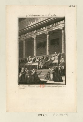 4.<em>e</em> événement du 5 8.bre 1789 les femmes parisiennes siegeant à l'Assemblée nationale parmi les députés : [estampe]