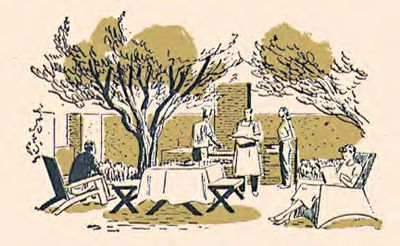 Illustration of outdoor cooking scene