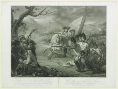 <em>The</em>  Battle between <em>the</em> archduke Charles and general Moreau on <em>the</em> 19th of Oct.r 1796 near Kintzingen : [estampe]