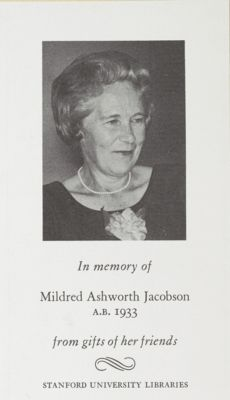 Mildred Ashworth Jacobson Memorial Book Fund