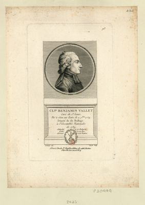Cl.de Benjamin Vallet curé de St Louis, né à Gien sur Loire le 2 7.bre 1754. Député du dit baillage à l'Assemblée nationale de 1789. Attaché à sa religion, fidel à son Roi, dévoué à la <em>nation</em> : [estampe]