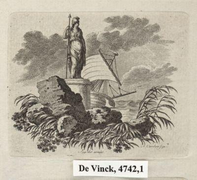 [Statue de la République au bord d'un rivage] [estampe]