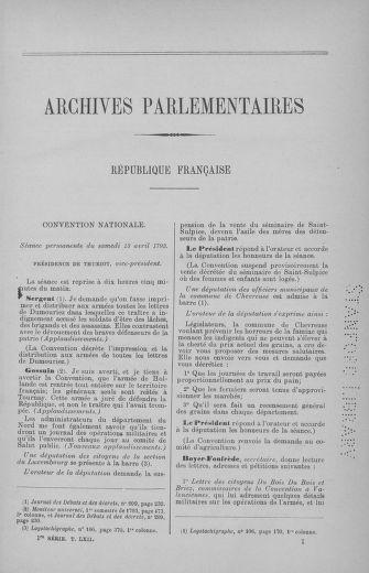 Tome 62 : Du 13 au 19 avril 1793 - page 1