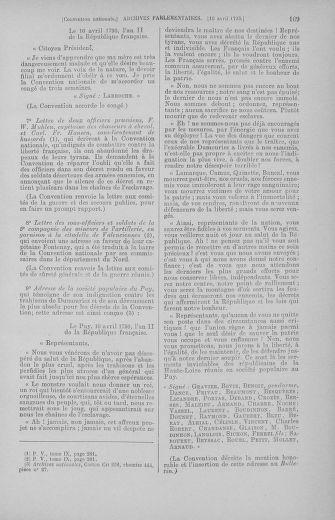 Tome 62 : Du 13 au 19 avril 1793 - page 169