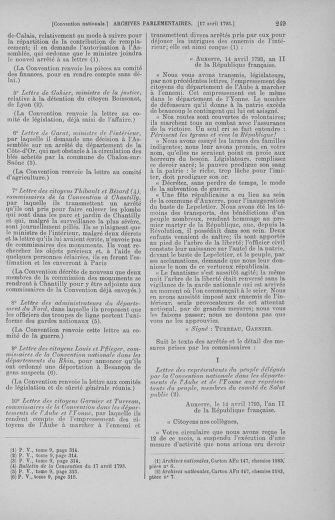 Tome 62 : Du 13 au 19 avril 1793 - page 249