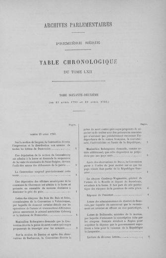 Tome 62 : Du 13 au 19 avril 1793 - page ..