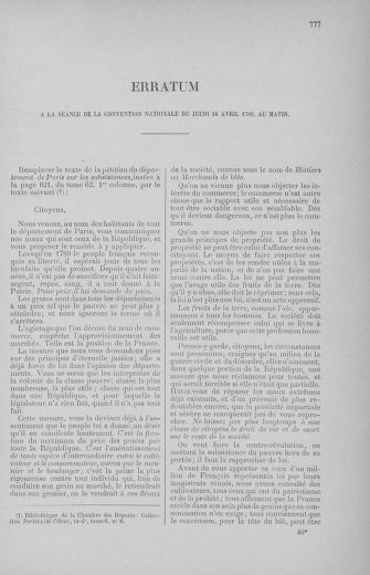 Tome 62 : Du 13 au 19 avril 1793 - page 777