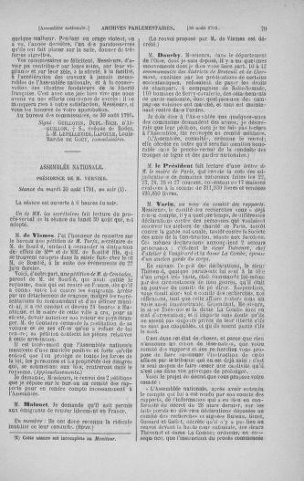 Tome 30 : Du 28 août au 17 septembre 1791 - page 79
