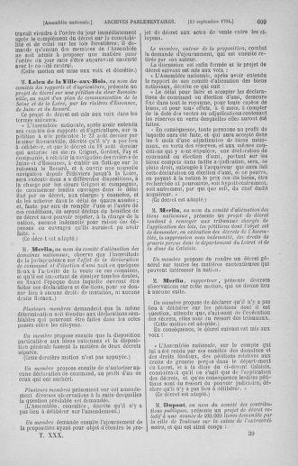 Tome 30 : Du 28 août au 17 septembre 1791 - page 609