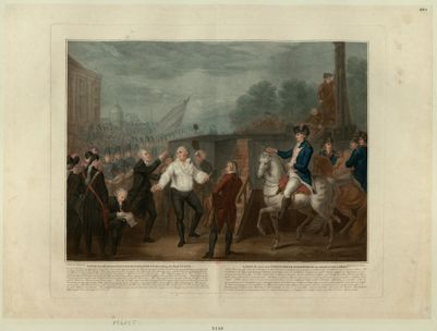 Lewis the 16th with his Confessor Edgeworth ascending the fatal Steps on the 21st of January <em>1793</em>... : [estampe]
