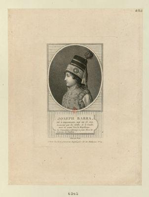Joseph Barra né à Versailles, agé de 13 ans assassiné par les rebelles de la Vendée, mort en criant vive la République. la Convention a décerné à ce jeune héros les honneurs du Panthéon : [estampe]