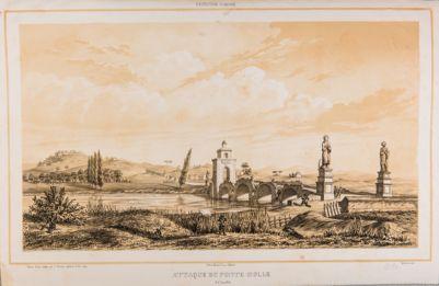 Ponte Milvio con le demolizioni del 1849