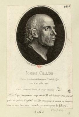 Joseph Chalier président du tribunal de commerce du district de Lyon mort le 16 juillet 1793. C'est comme le Phenix, il renait immortel. Déjà frapé d'un premier coup, insensible a la douleur et ne pensant qu'a la patrie, il agitait sa tête mourante et criait au bourrea[<em>u</em>] Attache moi donc une cocarde, je meurs pour la liberté : [estampe]