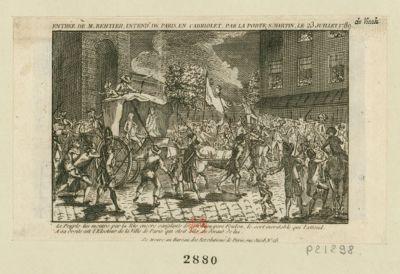 Entrée de M. Bertier, intend.t de Paris, en cabriolet, par la porte, S. Martin, le 23 juillet 1789 le peuple lui montre par la tête encore sanglante de son beau-père Foulon, le sort inévitable qui l'attend. A sa droite est l'Electeur de la Ville de Paris qui était allé au devant de lui : [estampe]
