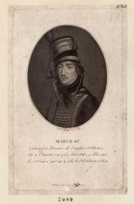 Marceau general à l'armée de Sambre et Meuse né à Chartres en 1769 mort de ses blessure le 5.eme jour com.re an 4 à la ba.lle d'Altenkirchen : [estampe]