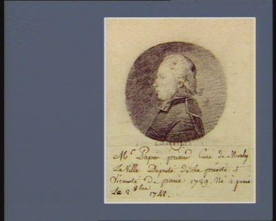 M. Papin prieur curé de Marly-la-Ville député de la prévoté et vicomté de <em>Paris</em> 1789. Né à <em>Paris</em> le 20 8.bre 1742 : [dessin]